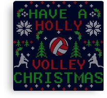 Holly Volley Volleyball Ugly Christmas by TeeCreations Canvas Print