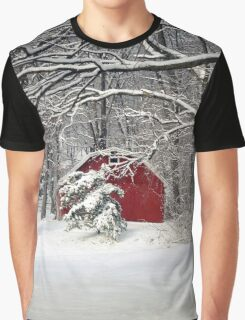 Red Barn in the Snow Graphic T-Shirt