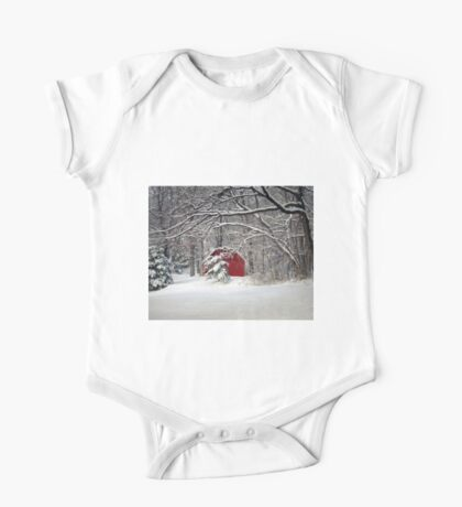 Red Barn in the Snow One Piece - Short Sleeve