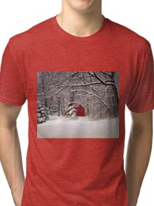 Red Barn in the Snow Tri-blend T-Shirt