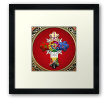 Rosy Cross - Rose Croix in Gold on Red  Framed Print