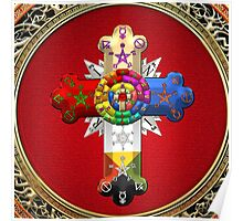 Rosy Cross - Rose Croix in Gold on Red  Poster