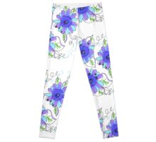 Purple And Flower Blues Leggings