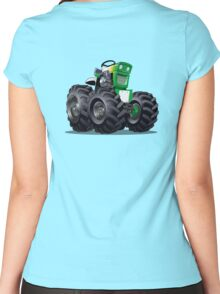 Cartoon Tractor Women's Fitted Scoop T-Shirt