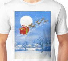 Santa with his Flying Reindeer Unisex T-Shirt