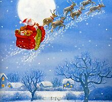 Santa with his Flying Reindeer by Susan S. Kline
