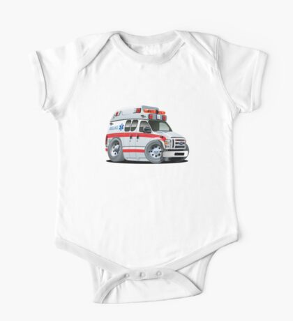 Cartoon Ambulance Car One Piece - Short Sleeve