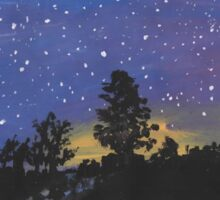 Wooded Sunset on a Starry night Sticker