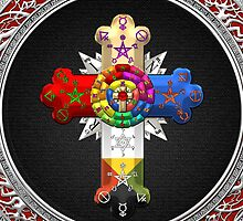 Rosy Cross - Rose Croix in Silver on Black by Captain7