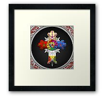 Rosy Cross - Rose Croix in Silver on Black Framed Print