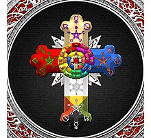 Rosy Cross - Rose Croix in Silver on Black Photographic Print