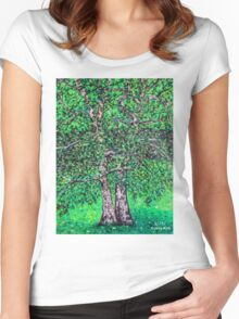 'Elm Trees' (Plein Air Painting) Women's Fitted Scoop T-Shirt