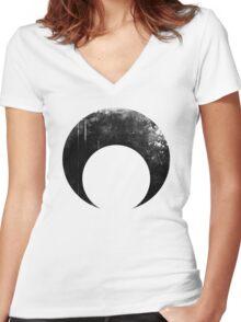 Sailor Moon dark symbol Women's Fitted V-Neck T-Shirt