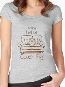 Couch Pig (Monochrome) Women's Fitted Scoop T-Shirt