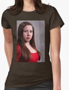 Woman Red Dress Womens Fitted T-Shirt
