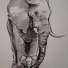 Mama Elephant & Baby - ink wash painting on vintage paper by Rebecca Rees