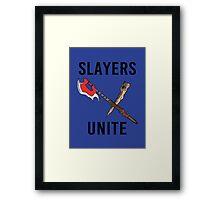 'SLAYERS UNITE' Crest II Framed Print