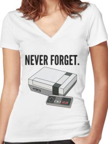 Never Forget Women's Fitted V-Neck T-Shirt