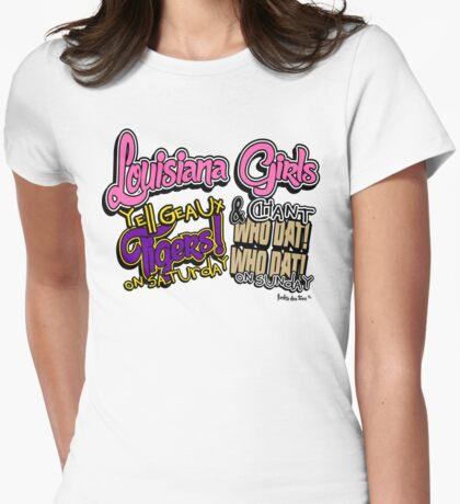 Louisiana Girls Tiger GEAUX LSU Who Dat Saints Womens Fitted T-Shirt