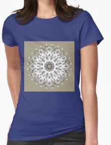 White Floral Mandala on Beige Background Womens Fitted T-Shirt