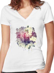 Secret Garden | Cherry blossom Women's Fitted V-Neck T-Shirt