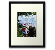 Father and Son Launching Kayaks Framed Print