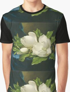Martin Johnson Heade - Giant Magnolias On A Blue Velvet Cloth. Still life with flowers: flowers, hummingbird, nest, orchid,  lotus blossom, wonderful flower, forest, passion flowers, garden, magnolias Graphic T-Shirt