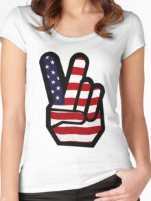 Peace Stars n Stripes Women's Fitted Scoop T-Shirt