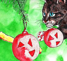 Cat Attacking Christmas Tree by Kevin Dellinger