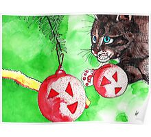 Cat Attacking Christmas Tree Poster