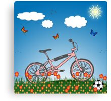 Pink bicycle Canvas Print