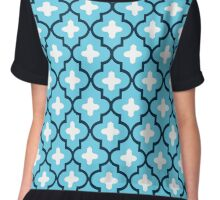 Classic Moroccan Tile, Indigo and Sky Blue Chiffon Top
