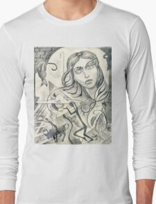 Surreal Maiden with pyramid.  Long Sleeve T-Shirt