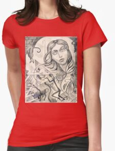 Surreal Maiden with pyramid.  Womens Fitted T-Shirt