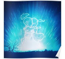 Cosmo + Celeste ( Colorful Cosmological Night Sky Couple in Love Ice Blue ) Poster