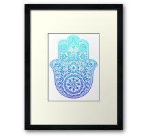 Teal Blue Hamsa Framed Print