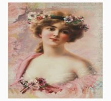 victorian beauty,old, reproduction of angelic looking young lady,Visteria, flower, pretty,classical,art,vintage,greek art,beautiful Kids Tee