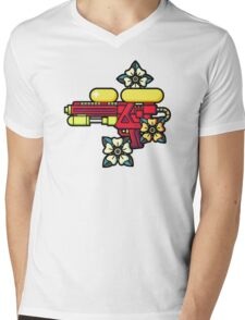 Flowers and watergun Mens V-Neck T-Shirt
