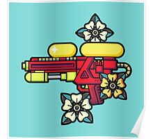 Flowers and watergun Poster
