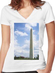 Washington Monument Women's Fitted V-Neck T-Shirt
