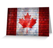Canada flag painted on old brick wall texture background Greeting Card