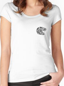 Toronto Raptors Retro Low Poly Head (Black & White) Women's Fitted Scoop T-Shirt