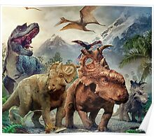 Dinosaurs in the snow Poster