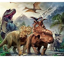 Dinosaurs in the snow Photographic Print