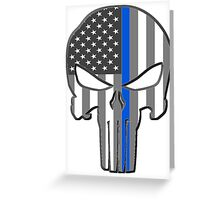 American Skull Thin Blue Line  Greeting Card