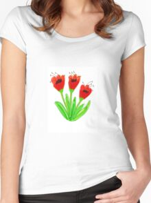 Bright Red Garden Tulips Women's Fitted Scoop T-Shirt