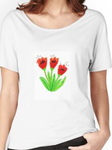 Bright Red Garden Tulips Women's Relaxed Fit T-Shirt