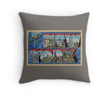 Howdy from New York Vintage Postcard Design Throw Pillow