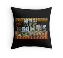 New Orleans Vintage Large Letter Postcard Throw Pillow