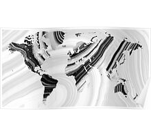 Black And White Marbled World Map - Sharon Cummings Poster